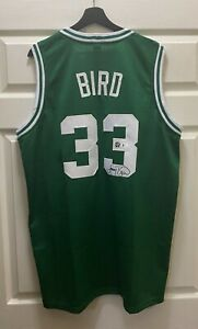 Larry Bird #33 Signed Celtics Jersey AUTO Sz XL Beckett BAS WITNESSED COA HOF