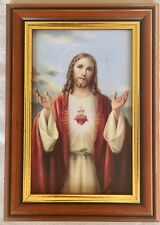 SACRED HEART OF JESUS - SMALL WOOD FRAMED PICTURE / PRINT - 17x12cm