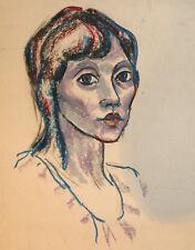 Vintage pastel painting woman portrait