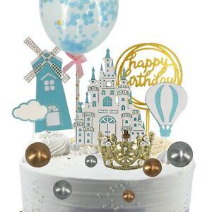 13Pcs Princess Cake Topper Kit Birthday Decorations Confetti Balloon Mini Crown