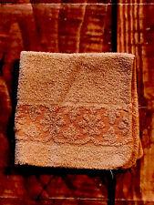 VTG Floral Roses Terry Bath Hand wash Towel Mid Century sculpted Peach orange