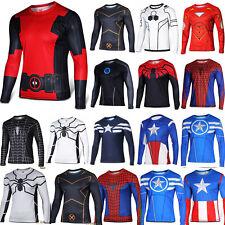 AU Men Tee Shirt Superhero Marvel Compression Under Skin Tight Sport Top Cycling