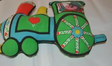 Springs Mills Train Shaped Pillow Colorful Conductor Green Blue Red Kids Room