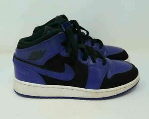 2018 Nike Air Jordan 1 One Mid Black Dark Concord Purple GS Sz 4Y