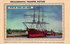 Postcard Decalcomania Transfer Picture Star of India San Diego California~128720