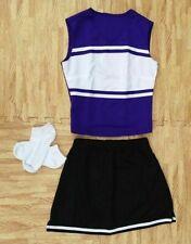 "ADULT S/M PURPLE BLACK Cheerleader Uniform Top Skirt Socks 33-35/26-28"" Cosplay"