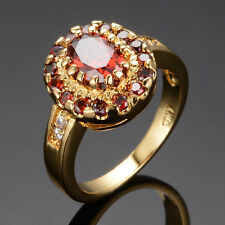 6*9MM Luxury Ruby Rings Red CZ Halo Sz 6-10 Women's 10kt Yellow Gold Filled Band