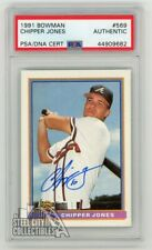 Chipper Jones 1991 Bowman Autographed Rookie Rc Card - Psa/Dna Coa