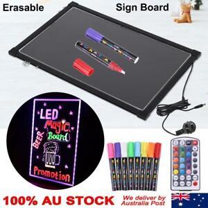 2Size Flashing Illuminated Erasable Neon LED Message Menu Sign Writing Board pad