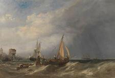 Dutch Barge and Merchantmen Running out of Rotterdam Stanfield Schiff B A3 01188