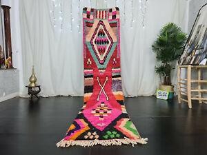 "Moroccan Boujaad Handmade Runner Rug 2'4""x10'6"" Berber Geometric Pink Red Carpet"