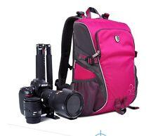Lady's Camera Backpack Pro Bag Case Canon Nikon DSLR SLR Waterproof Rose