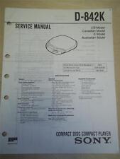 Sony Service Manual~D-842K Discman CD Player~Original~Repair