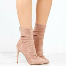 Women's Winter Ankle Boots Pointed Toe High Heels Stiletto Pump Party Shoes CA