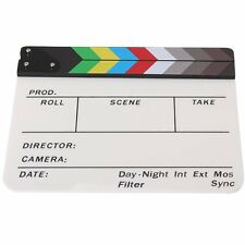 Acrylic Clapperboard TV Film Movie Slate Cut Role Play Prop Hollywood CT C8 X2T0