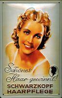 Schwarzkopf schönes Haar Blechschild Schild 3D geprägt Tin Sign 20 x 30 cm