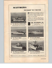 1958 PAPER AD Matthews 42' Fly Bridge Double Cabin Sedan Express Motor Boat