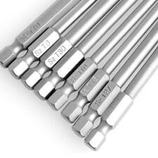 """Bit Set Long Torx 1/4"""" Tamperproof S2 Steel T8/T10/T15/T20/T25/T27/T30/T40"""