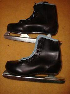 "NIB Vintage Little Rocket Boys Black Beginner 9"" Double-Blade Ice Skates Size 12"