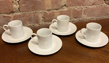 Espresso Cups & Saucers Set of 4 Everyday White Porcelain 4oz Excellent Cond