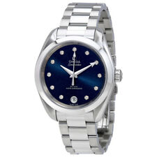 Omega Seamaster Blue Diammond Dial Automatic Ladies Watch 220.10.34.20.53.001