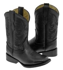 Kids Boys Smooth Leather Black Western Casual Cowboy Boots Broad Square Toe
