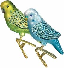 Set of 2 Miniature Parakeet Clip On Blown Glass Christmas Ornament by Old World