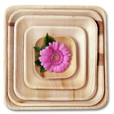 More details for foogo green disposable palm leaf plates square wooden biodegradable eco friendly