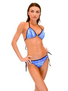 VF-Sport - Bikini, Wave Blue Triangle Top and String Bottom, Two Piece Set