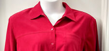 Allison Daley Red Blouse Plus Size 24W Button Front Long Sleeves Velvet Feel