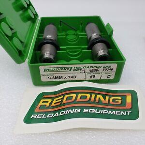 Redding Reloading 2-Die Set 9.3MM x 74 Rimmed D Series Shell Holder #6 p/n 80346