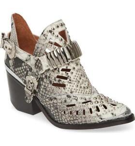 Jeffrey Campbell Calhoun-4 White/Black Snake Silver Leather Boots Size 6.5