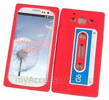 Samsung Galaxy S3 S 3 III Red Cassette Tape 3D Silicone Rubber Skin Phone Case