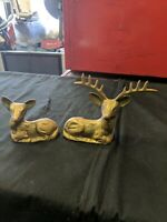Set Of 2 Vintage Collectable Brass Deer Laying
