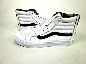 Vans SK8-Hi Slim Zip White Leather Men's Shoes VN0A349CM1V,US Size 4.5,EUR 36