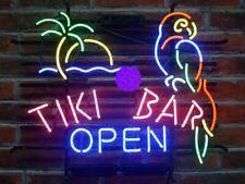 "Tiki Bar Open Parrot Palm Tree Neon Light Sign 20""x16"" Beer Bar Man Cave Artwork"