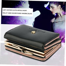 Lady Leather Clutch Bifold Short Wallet Card Holder Purse Handbag Black DC