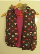 Girls Brown & Multicoloured Hearts Hood Padded Bodywarmer - 7 - 8 years