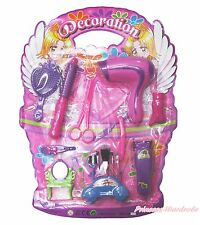 Pink Hair Dryer Comb Curler Scissors Beauty Salon Pretend Play Girl Kids Toy