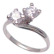 Anello in oro bianco 18 kt contrariè da donna con zirconi cristalli brillanti