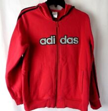 Adidas Zip Front Hoodie Jacket Long Sleeve Pockets Pink Black Bling Large  #6863