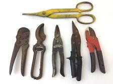 Vintage Lot Cutting Tools Tin Snips H Boker Dunlap Newman Craftsman Used