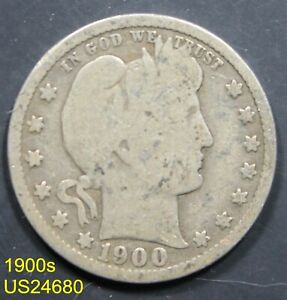 1900-S Barber Quarter circulated 90% silver FREE SHIPPING IN UNITED STATES