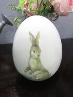 "Easter Vintage Style Bunny Rabbit Ceramic Egg Figurine Tabletop Decor 6 1/4"" NEW"