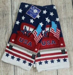 Patriotic Truck Kitchen Towels Red White Blue Stars Flag 4th Of July Hand 2 NEW