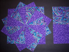 Lovely*Purple and Turquoise Paisley 40 Quilt Quilting Squares Cotton Fabric 4""