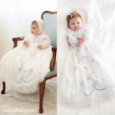 Ancien Vêtements Robes de Baptême Pleine Longueur Blanc Bébé +Bonnet 0-24 Mois