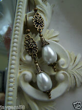 VINTAGE STYLE PEARL DROP EARRINGS BRONZE TONE connector