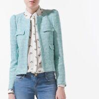 ZARA WOMAN Seafoam Green/Turquoise Tweed Blazer JACKET SIZE M