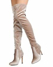 Cape Robbin Champagne Mini-82 Velvet Thigh High Pointy Toe Stiletto Boot SZ 7.5